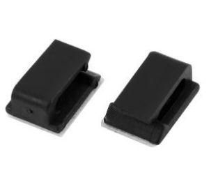 20x Self Adhesive Rectangle Wire Tie Cable Mount Clamp Clip 12mm x 15mm - Black