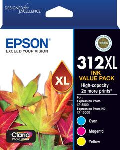 Epson 312XL High Capacity Claria Photo HD CMY Colour Ink Cartridge Pack