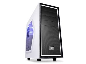 DeepCool Tesseract SW Mid Tower Case Side Window Includes 1 Blue 120mm LED Fan White