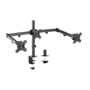 Brateck Triple Screens Economical Double Joint Articulating Steel Monitor Arms