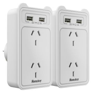 Huntkey SAC207 Smart Wall Charger with 2 AC and 2 USB Combined 2.4A Twin Pack