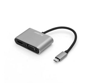 Blupeak USB-C to HDMI 4K@30Hz & VGA 1080P@60Hz Adapter